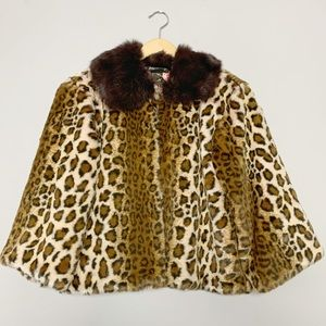 Betsey Johnson leopard print coat real fur collar